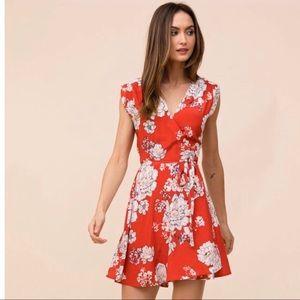 yumi kim beautiful red wrap dress!